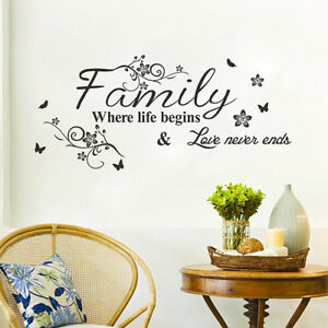 Family Where Life Begins Flower Wall Sticker Quote Words Decals Vinyl Decor UKWS