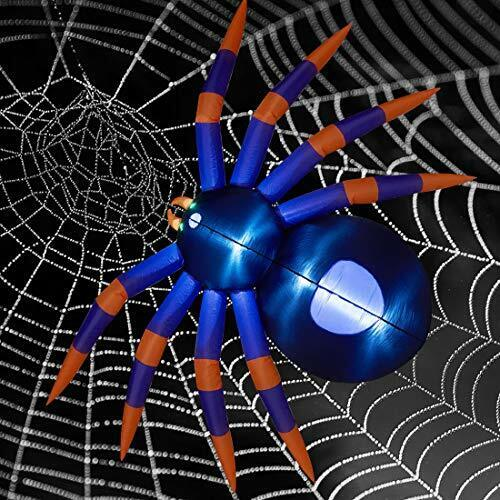 8Ft Halloween Inflatable Spider Giant Black Purple Blow Up Spider with LED Light
