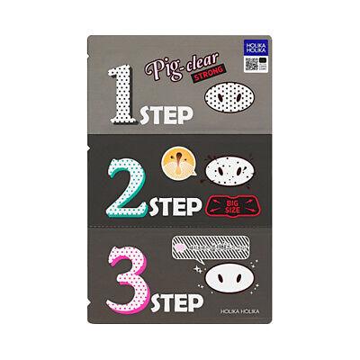 [Holika Holika] Pig Nose Clear Black Head 3 Step Kit (Strong) - 5pcs / Free Gift