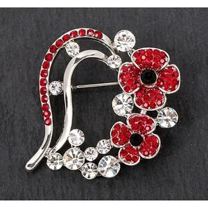 Equilibrium Silver Plated Poppy Crystal Brooch Pin Great Gift 69148 Jewellery