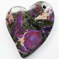 Purple Sea Sediment Jasper & Pyrite CARVED Stone Heart Pendant