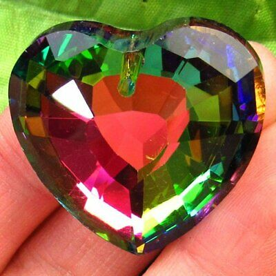 Faceted Rainbow Titanium Crystal Heart Pendant Bead 32x13mm H1915