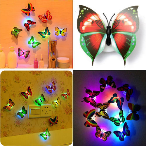 Colorful Changing Butterfly LED Night Light Lamp Home Room Wall Decor Party Desk