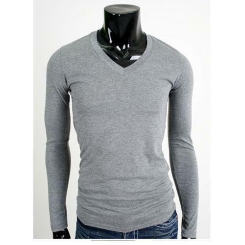 Mens t shirts plain v neck ebay for Mens plain v neck t shirts