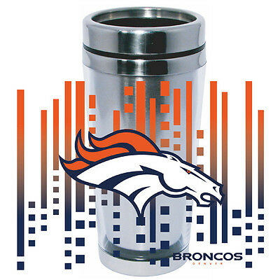 Denver Broncos Logo Travel Mug Tumbler Stainless Steel NEW Clear Insert Denver Broncos Travel Mug