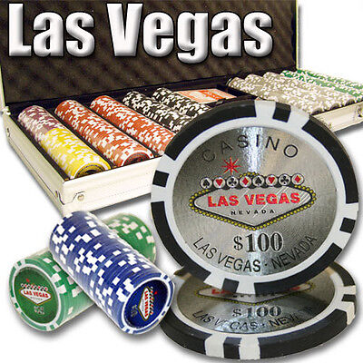 NEW 500 PC Las Vegas 14 Gram Clay Poker Chips Set Aluminum Case Pre Packaged