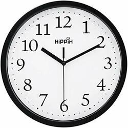 Hippih Black Wall Clock Silent Non Ticking Quality Quartz, 10 Inch (1-black)