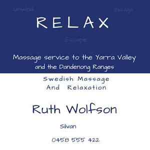 RELAX Swedish Massage & Relaxation for Men and Women Silvan Yarra Ranges Preview
