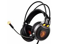 SADES R1 Virtual 7.1 Channel USB Professional Stereo Gaming Headset Noise Isolating Leather for PC