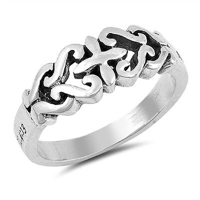 (.925 Sterling Silver Religious Celtic Cross Fashion Ring Size 4-10 NEW)