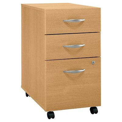Bush Corsa Series 3-drawer Rolling File Storage Cabinet Light Oak Bshwc60353su