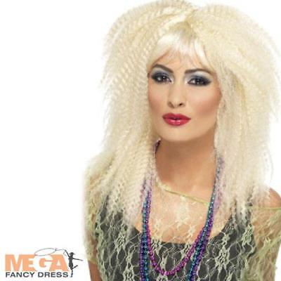 Eighties Wig (1980s Blonde Crimp Wig Ladies Eighties Fancy Dress Costume Retro 80s Womens)