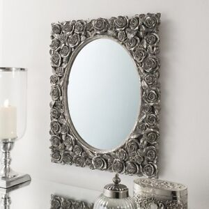 Gallery Direct decorative silver leaf rose design mirror