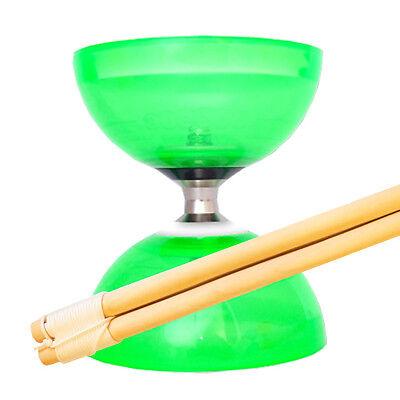 Quartz Triple Bearing Diabolo & Wood Sticks - Pro Diablo & Sticks - Green