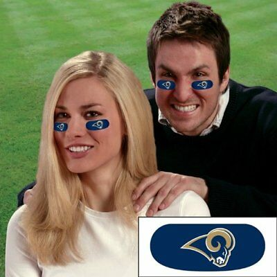 Los Angeles LA Rams Football NFL Eye Black Strips Tailgate Face Stickers 3 Pair - Football Face Stickers