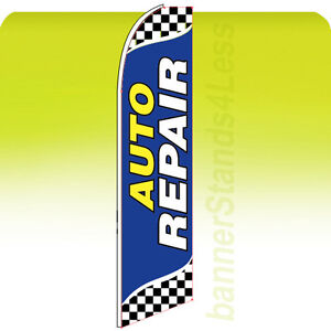 AUTO REPAIR Swooper Flag Feather Flutter Banner Sign 11.5' Tall - Checkered bb