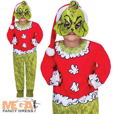 The Grinch Boys Fancy Dress Dr Suess Christmas Film Kids Childrens Xmas Costume  - Grinch Kids Costume