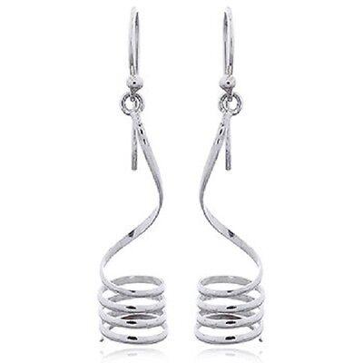 Silver earrings hook 925 sterling Spiral Silver Wirework  size 50mm drop