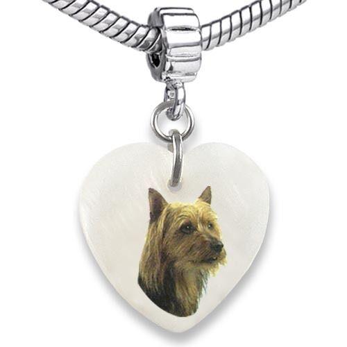 Australian Terrier Heart Mother Of Pearl European Bracelet Charm Bead EBS77
