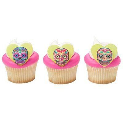 Day of the Dead Skulls SugarSoft Edible Cupcake Decorations - 12 count](Day Of The Dead Cupcakes)