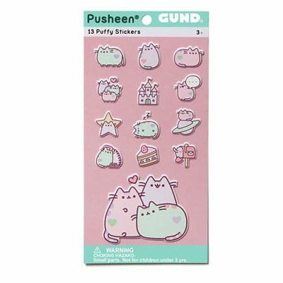 Gund New * Pusheen Pastel Puffy Stickers * 13 Stickers Cat Kitten Kitty Tabby
