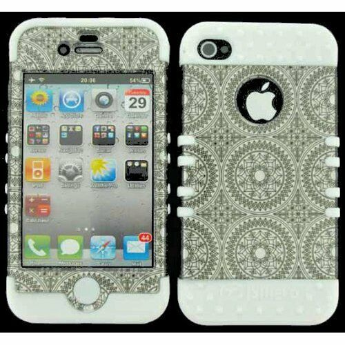 Hybrid Impact Hard Cover Case + Apple iPhone 4 4S Silver Circular on White Skin