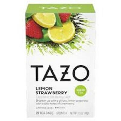 Tazo Green Tea Lemon Strawberry Flavored 20 Filterbags Best By Date 07/2021