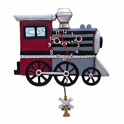 Allen Designs Choo Choo Train Pendulum Childs Kids Whimsical Wall Clock
