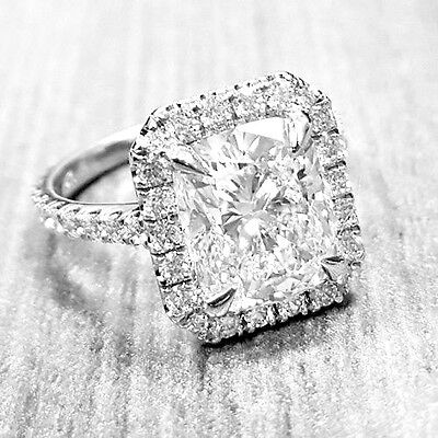 Conflict Free 2.75 Ct Cushion Cut Diamond Halo Engagement Ring GIA G, VVS2
