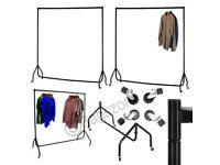 5 FT Heavy Duty Metal Garment Display Rail Clothes Shop Home Hanging Rack Stand