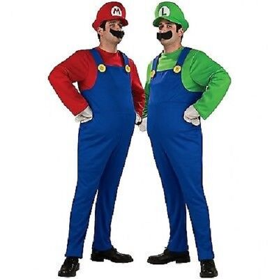 SUPER MARIO and LUIGI BROS PLUMBER ADULT MENS COSTUME + HAT & MOUSTACHE SMALL-XL - Adult Mario And Luigi Costume