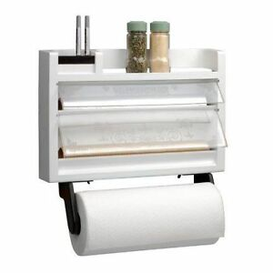 the ultimate kitchen 3 in 1 dispenser paper towel holder spice rack foil wax ebay. Black Bedroom Furniture Sets. Home Design Ideas