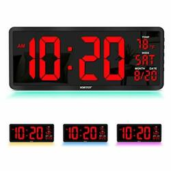 """16"""" Large Digital Wall Clock with 7 Color Decor, Remote Control, Red LED Display"""