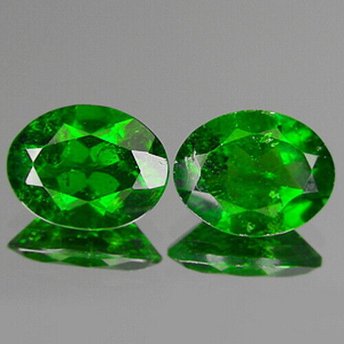 3.21cts 9x7mm Oval Pair Natural Chrome Green Diopside Loose Genuine Gemstones
