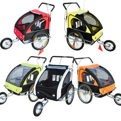 2in1 Jogger Kinderanhänger Fahrradanhänger Kinder Radanhänger 5 Farben mit Fahne