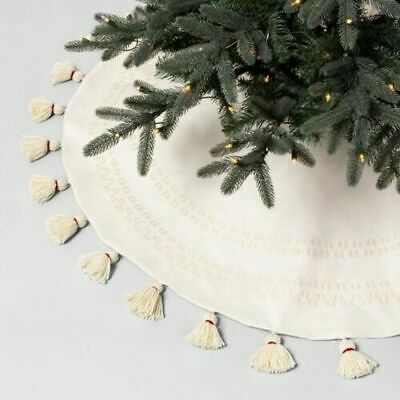 """NEW Hearth and Hand with Magnolia Tree Skirt Embroidered Cream White 52"""""""