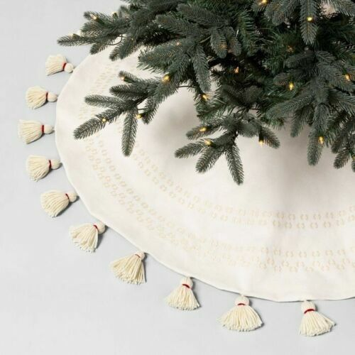 NEW Hearth and Hand with Magnolia Tree Skirt Embroidered Cream White 52″ Holiday & Seasonal Décor
