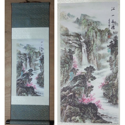 """Home decor Chinese silk scroll painting Chinese landscapes painting """"江山多娇"""""""