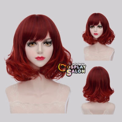 40CM Lolita Red Short Curly Gothic Women Cosplay Party Wig Heat Resistant+Cap
