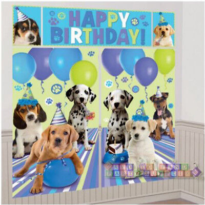 PUPPY PARTY GIANT SCENE SETTER WALL DECORATING KIT (5pc) ~ Dog Birthday Supplies - Puppy Birthday Decorations