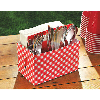 SUMMER PICNIC PARTY CARDBOARD UTENSIL CADDY ~ Birthday Party Supplies Cookout - Picnic Party Supplies