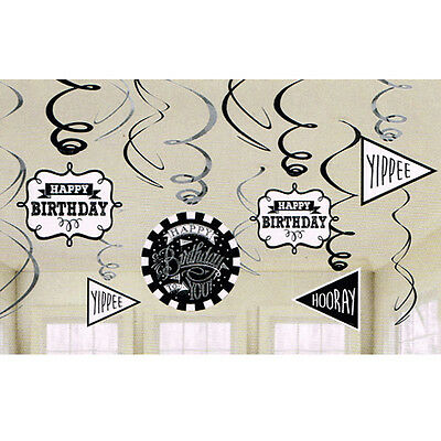 HAPPY BIRTHDAY Chalkboard HANGING SWIRLS (12) ~ Party Supplies Decorations Foil](Chalkboard Happy Birthday)
