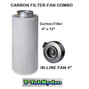 """T-Tekhydro: In-Line Fan 4"""" and Carbon Filter 4""""x12"""" Combo"""