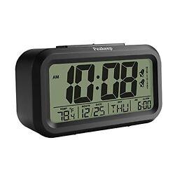 Peakeep Dual Alarm Streamlined Night Activated Smart LCD Big Digital Clock
