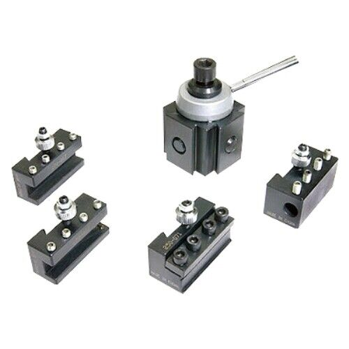 """5 PC STEEL MINI QUICK CHANGE TOOL POST & HOLDER SET FOR 7"""" LATHES (3900-5349)"""