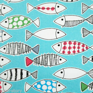By the yard 100 cotton fabric fish print mint sewing craft for Fish fabric by the yard