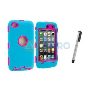 Baby Blue / Pink Hybrid Case Cover+Stylus Pen For iPod Touch 4th Gen 4G 4