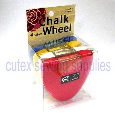 Chalk Wheel - Blue, Red, White, Yellow Four Color Set Fabric Markers