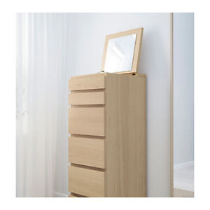 IKEA MALM 6-drawer chest/Commode bouleau 6 tiroirs avec miroir