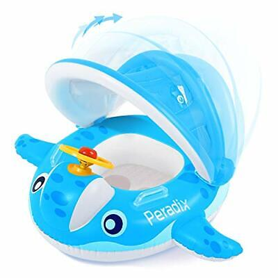 Peradix Baby Pool Float with Canopy Sunshade Whale Infants